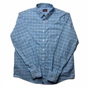 Untuckit Performance Blue Plaid Shirt Size L Large